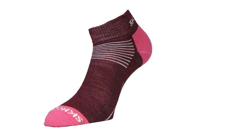 Nízké vlněné ponožky Mini - červená řepa