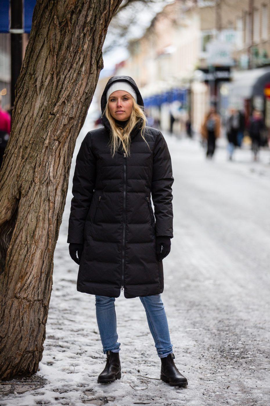 Péřový kabát Long Down - black